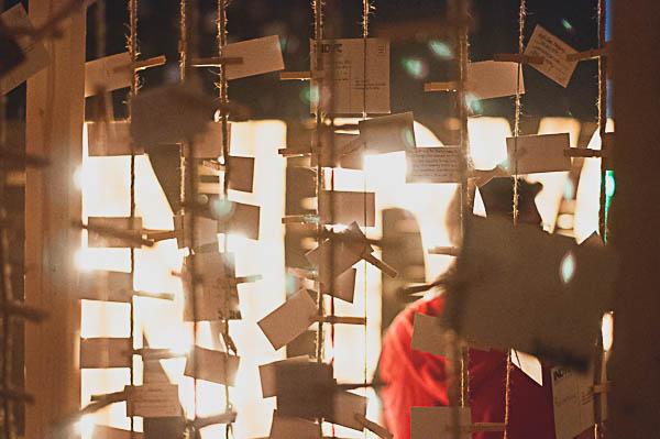 Pledge cards were hung on rope around the stage. Students came forward to signify trusting their lives to God.